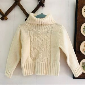 White Cable Knit Turtleneck Sweater 2t